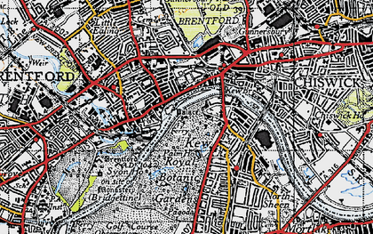 Old map of Brentford in 1945