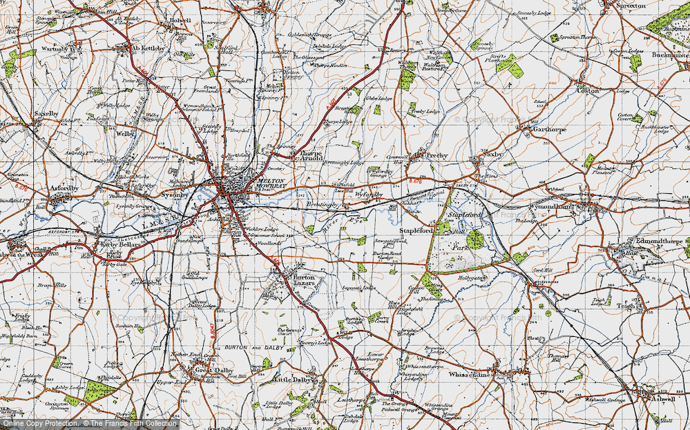 Old Map of Brentingby, 1946 in 1946