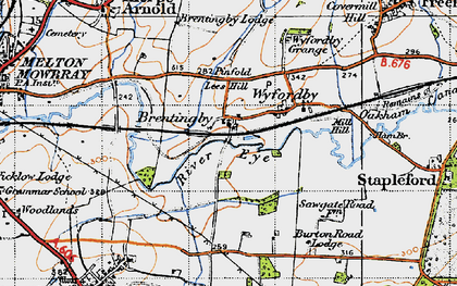 Old map of Brentingby in 1946