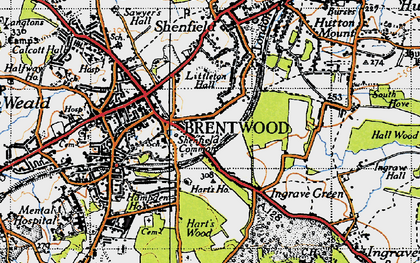 Old map of Brentwood in 1946