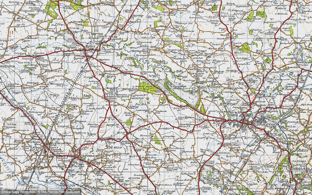 Old Map of Brereton Heath, 1947 in 1947