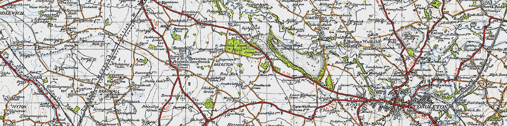 Old map of Brereton Heath in 1947
