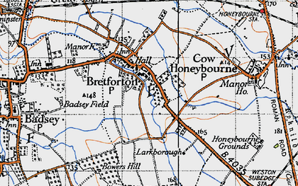 Old map of Badsey Field in 1946