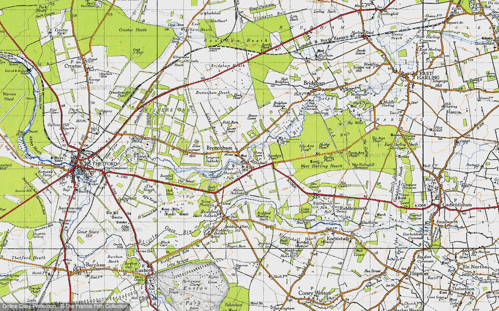 Old Map of Historic Map covering Langmere Hill in 1946