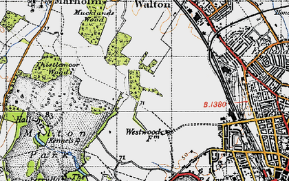 Old map of Bretton in 1946