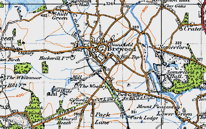 Old map of Brewood in 1946