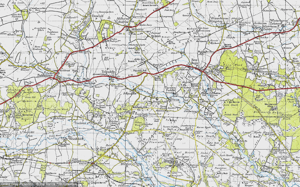 Old Map of Historic Map covering Ashley Barn in 1945