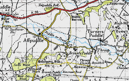Old map of Ashley Barn in 1945