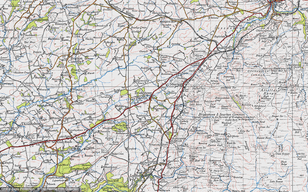 Old Map of Historic Map covering Leawood Ho in 1946