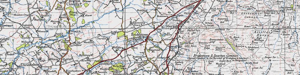 Old map of Bridestowe in 1946