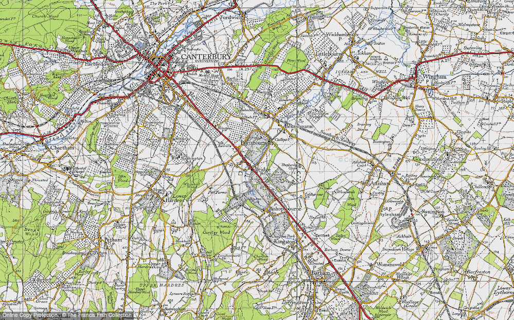 Old Map of Historic Map covering Barham Downs in 1947