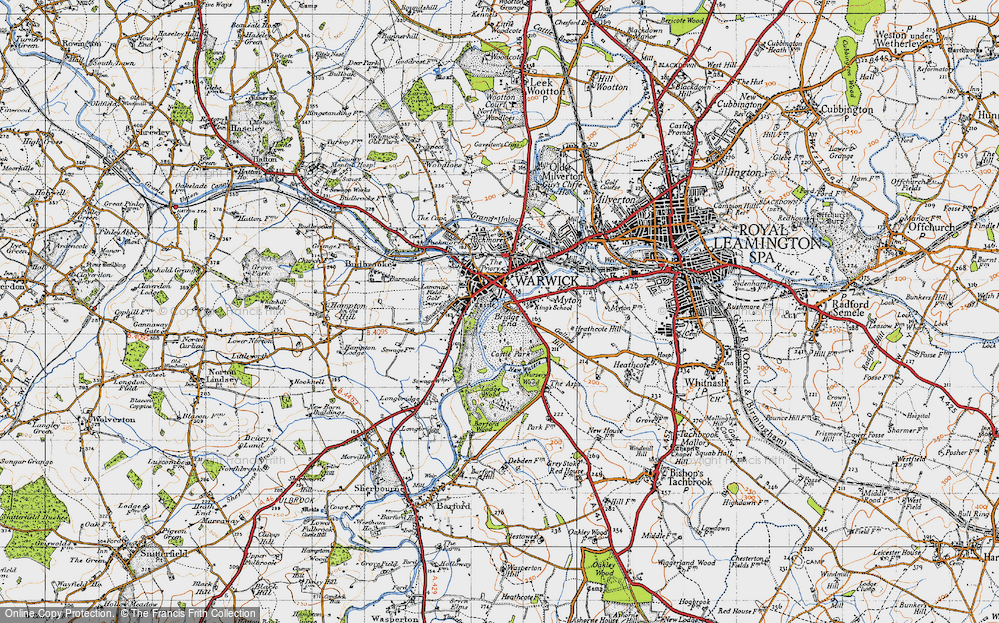 Old Map of Historic Map covering Barford Wood in 1947