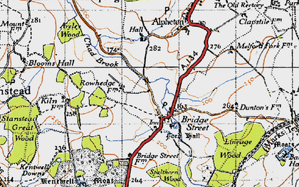 Old map of Lineage Wood in 1946
