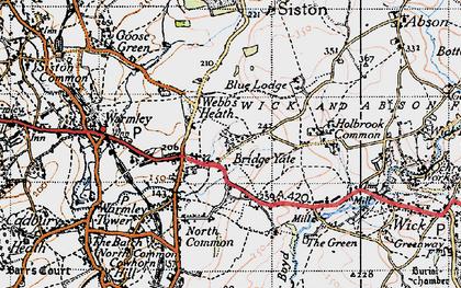 Old map of Bridge Yate in 1946