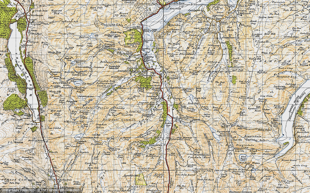 Old Map of Historic Map covering Aiken Crag in 1947