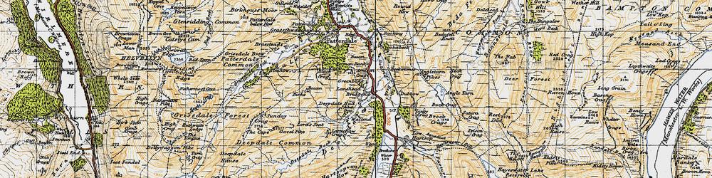 Old map of Aiken Crag in 1947