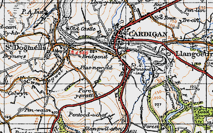 Old map of Afon Piliau in 1947