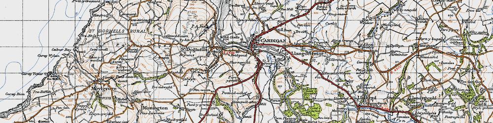 Old map of Afon Piliau in 1947