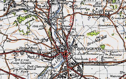 Old map of Bridgend in 1947