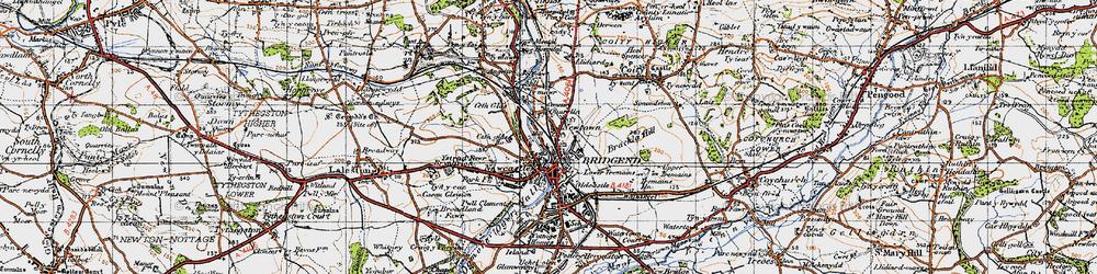 Old map of Bridgend in 1947