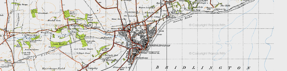 Old map of Bridlington in 1947