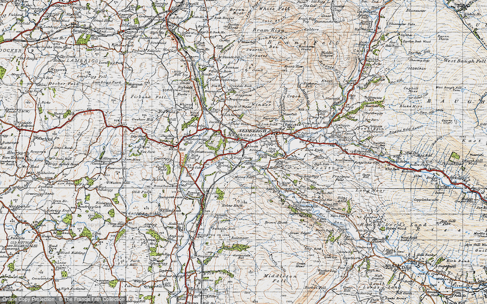 Old Map of Historic Map covering Abbot Holme in 1947