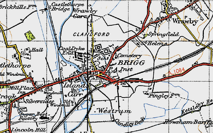 Old map of Wrawby Carrs in 1947