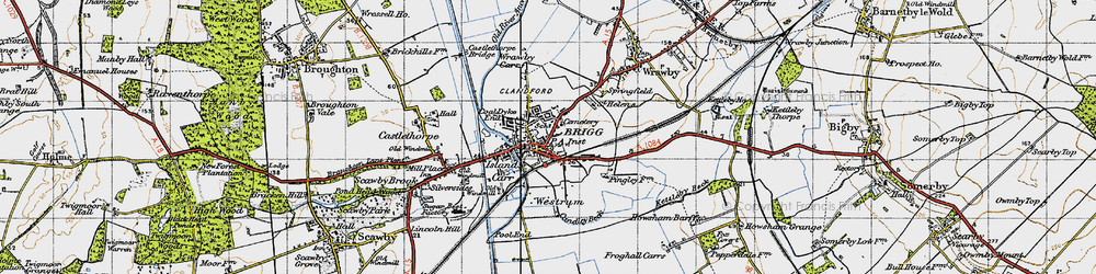 Old map of Brigg in 1947