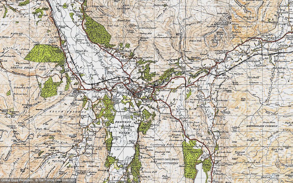 Old Map of Historic Map covering Latrigg in 1947