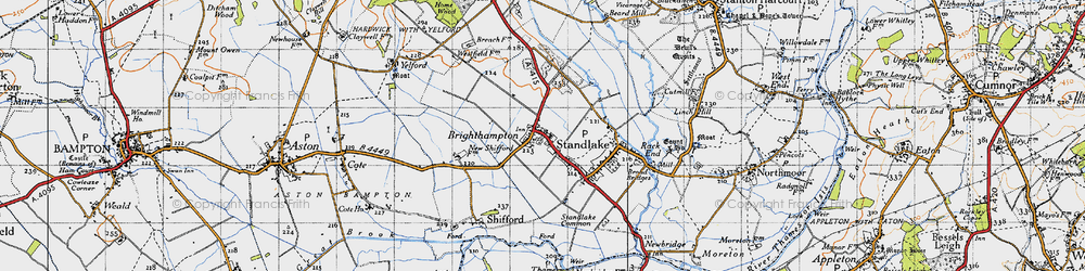 Old map of Brighthampton in 1947