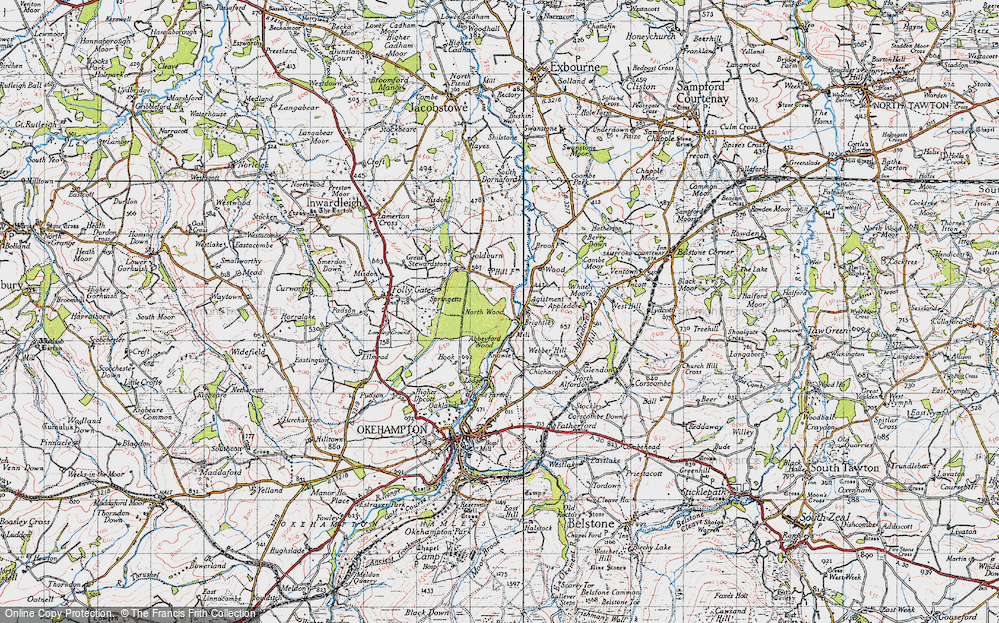 Old Map of Historic Map covering Abbeyford Woods in 1946