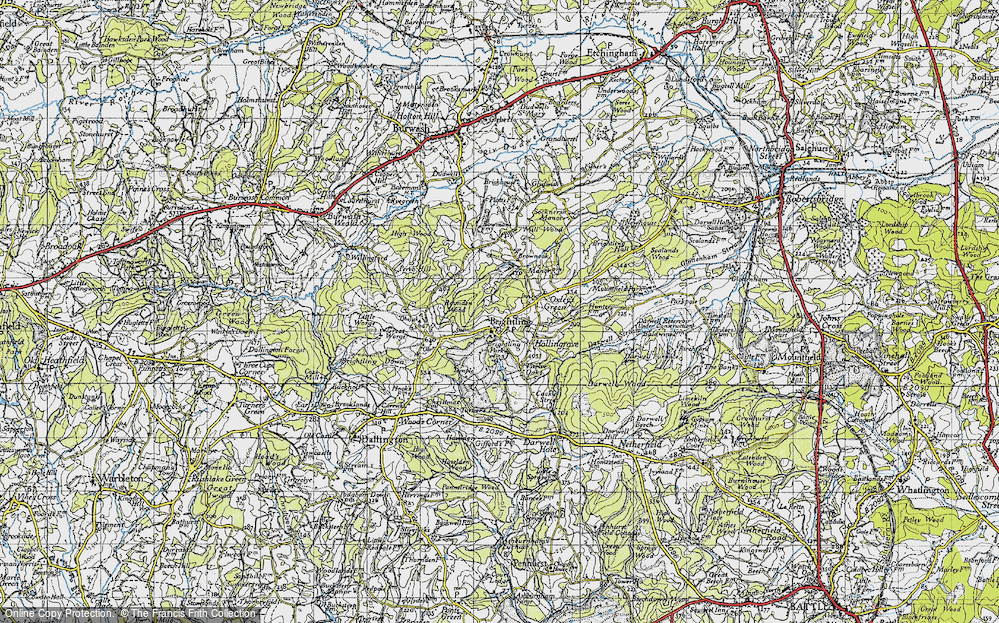 Old Map of Brightling, 1940 in 1940