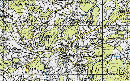 Old map of Brightling in 1940