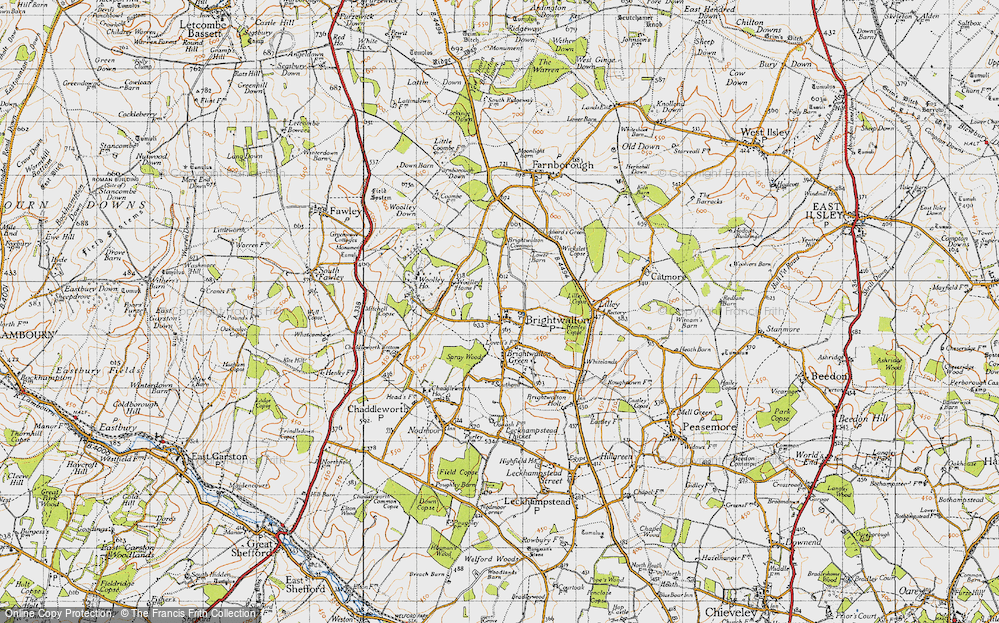 Old Map of Historic Map covering Lilley Copse in 1947