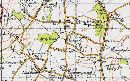 Old map of Brightwalton Green in 1947