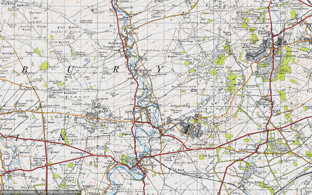 Old Map of Historic Map covering Ablington Down in 1940