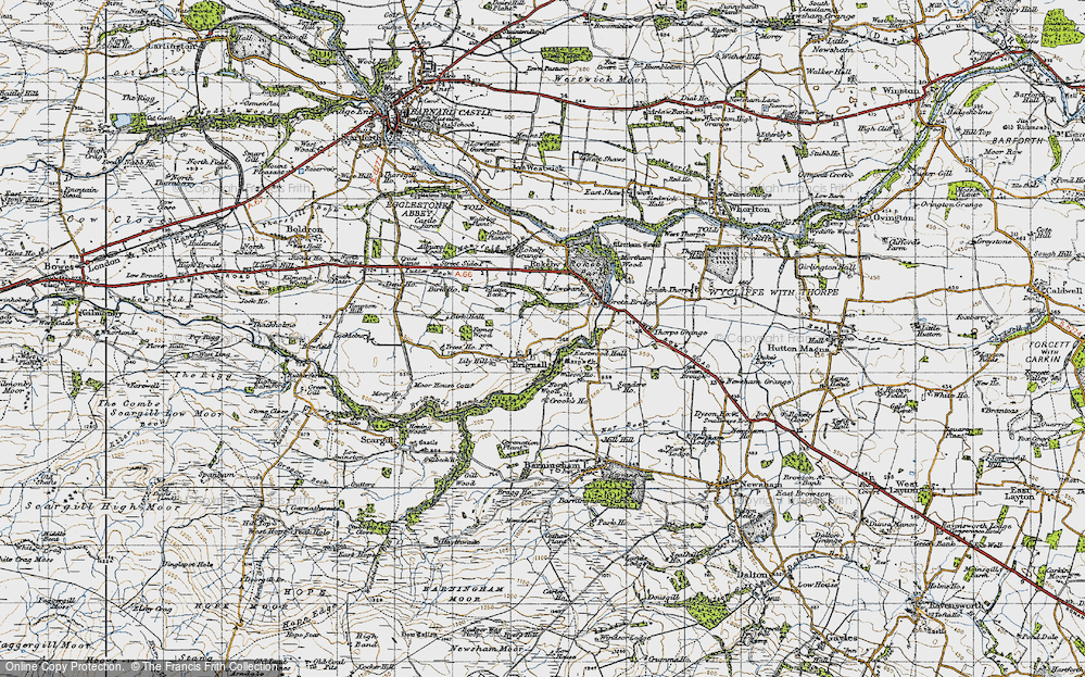 Old Map of Historic Map covering Lily Hill in 1947
