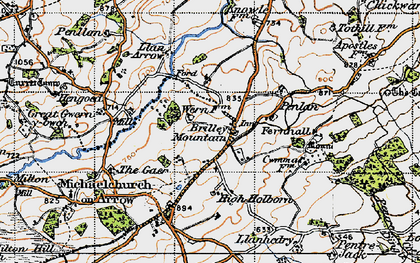 Old map of Brilley Mountain in 1947