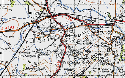 Old map of Brimfield in 1947