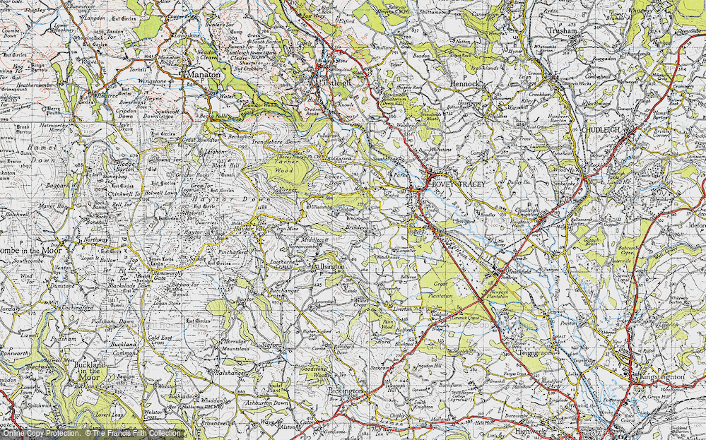 Old Map of Historic Map covering Langaller in 1946