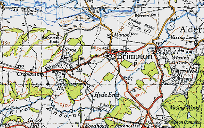 Old map of Brimpton in 1945