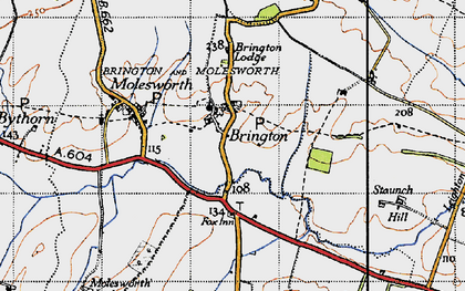 Old map of Brington in 1946