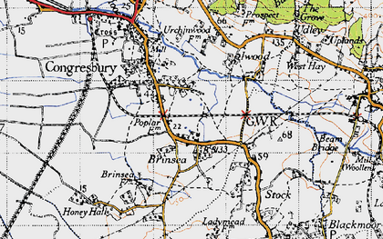 Old map of Brinsea in 1946