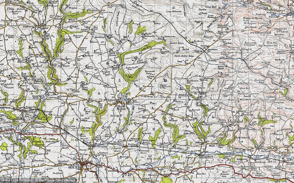 Old Map of Historic Map covering Barcombe Down in 1946