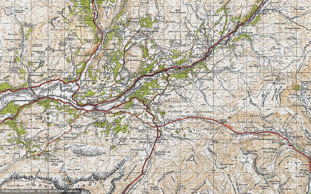 Old Map of Historic Map covering Afon Wnion in 1947