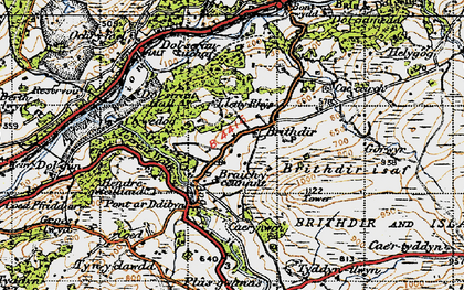 Old map of Afon Wnion in 1947