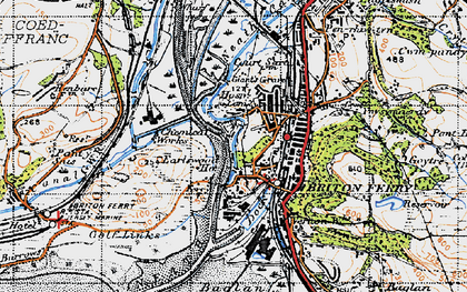 Old map of Briton Ferry in 1947