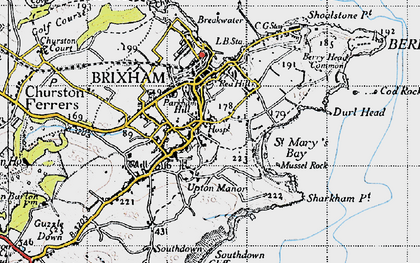 Old map of Brixham in 1946