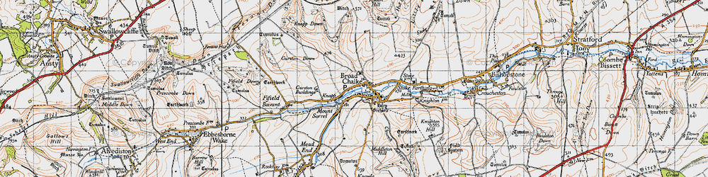 Old map of Broad Chalke in 1940