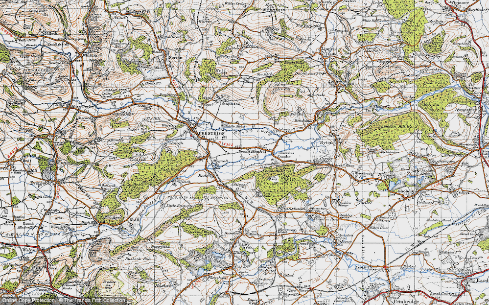 Old Map of Historic Map covering Hindwell Brook in 1947